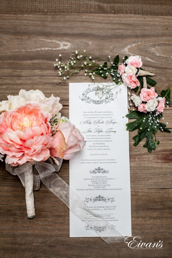 These floral and beautifully printed wedding line show all of the beauty this couple has.