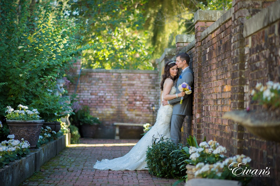 Groom kisses his bride's forehead while posing for romantic portraits in the garden.