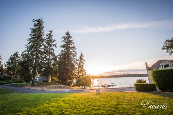 Beautiful landscape view by the lake. Wedding destination.