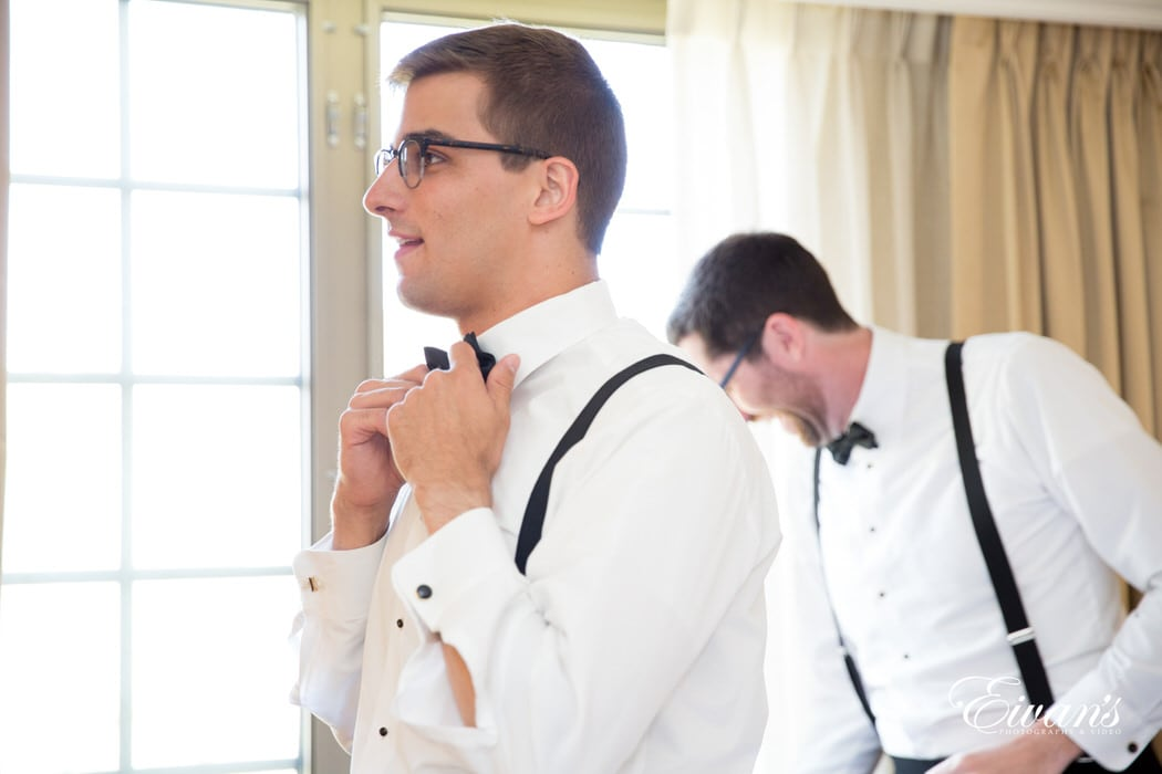 This is the beginning preparation of the groom's process of getting ready to start the next step in their life.