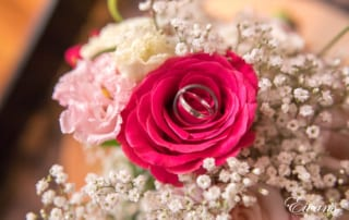 Within the gorgeous hot pink rose it holds the rings that will solidify their love.
