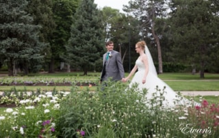 The bride and groom cascade so elegantly through this beautiful garden that brings a perfect close to their amazing day.