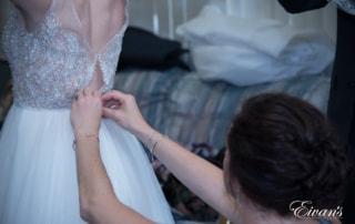 The beautiful and complex beading intricately placed on the top of the dress.