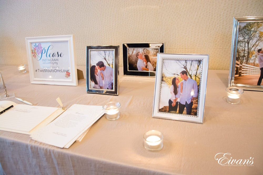The couple set out a table telling people to show off their beautiful wedding day.