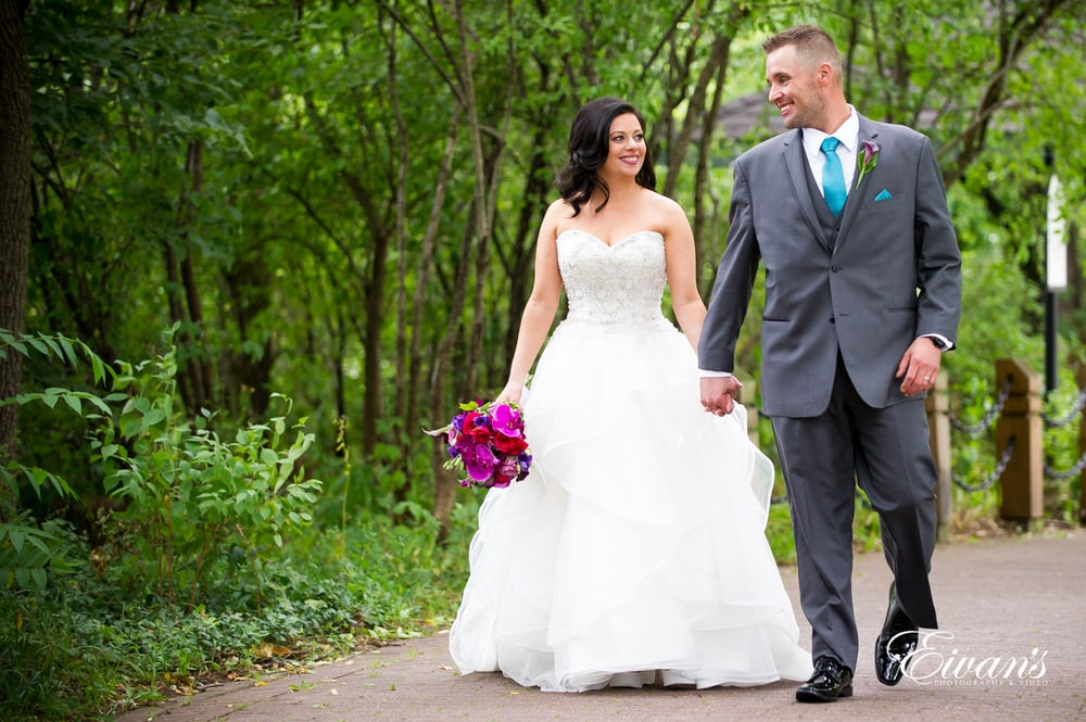 The couple's talk and walk while falling in love celebrating their new marriage.