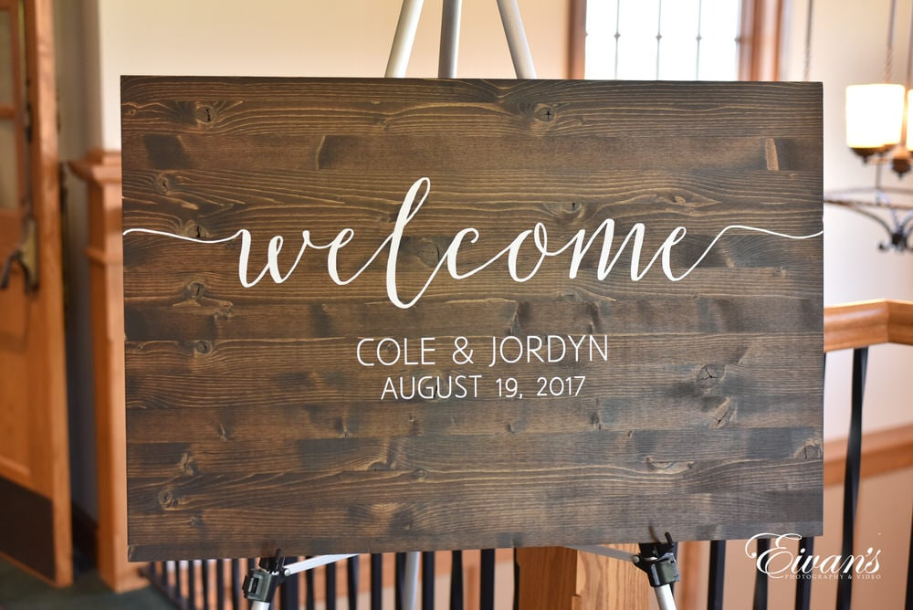 This rustic sign is one made to welcome all of the guests into this couple's amazing wedding.