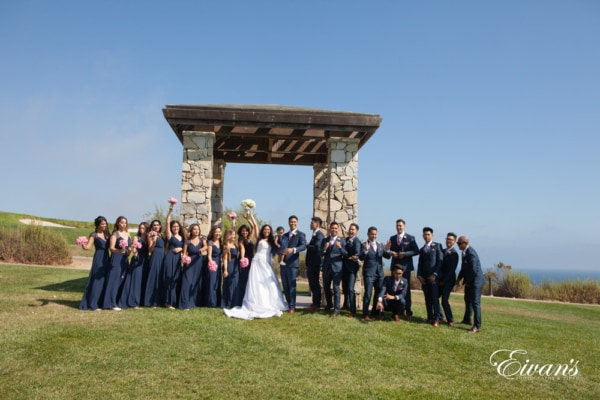 The whole bridal group celebrated together in such an amazing location with a bright and beautiful scenery.