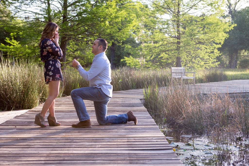 A man proposes to the girl of his dreams as she excitedly accepts. He is kneeling on a beautiful, wooden bridge holding the ring before her on a gorgeous sunny day in the forest.