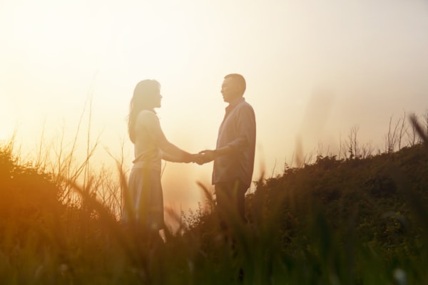 The couple is standing hand in hand in a field as they are being silhouetted by the sun.