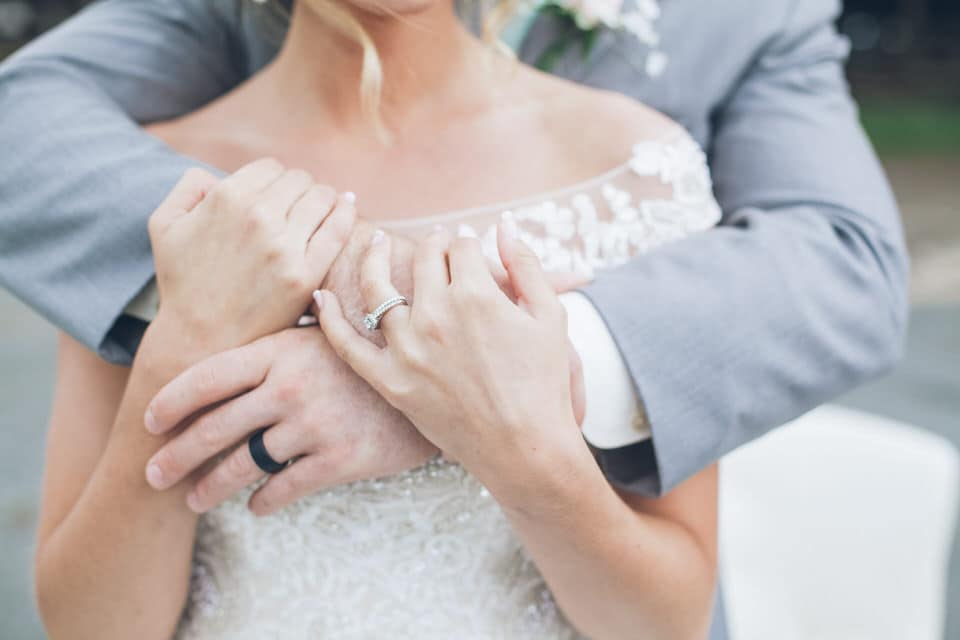 close-up shot of newlywed hands and the rings, charlotte wedding photographer portfolio