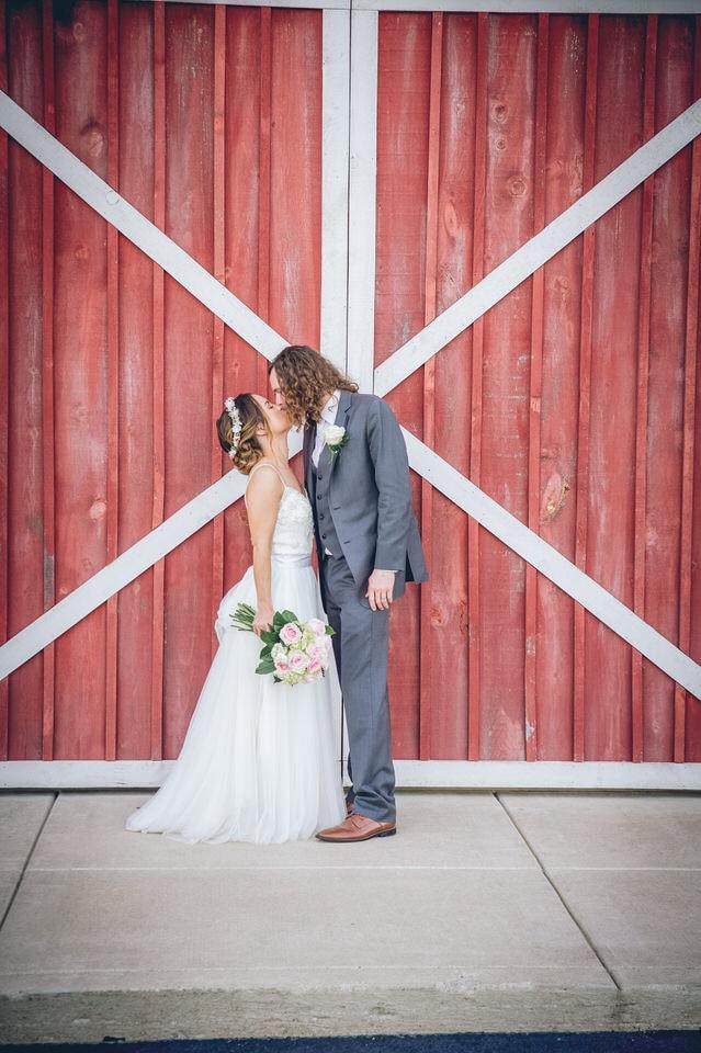 photo of wedding couple at a barn