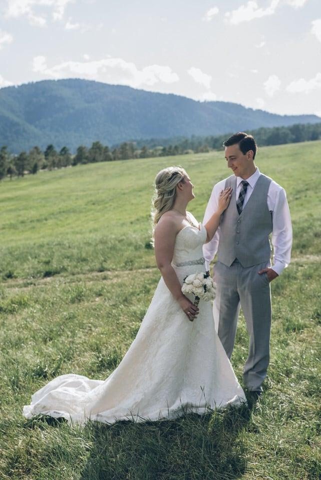 newlywed couple by landscape, denver wedding photographer portfolio