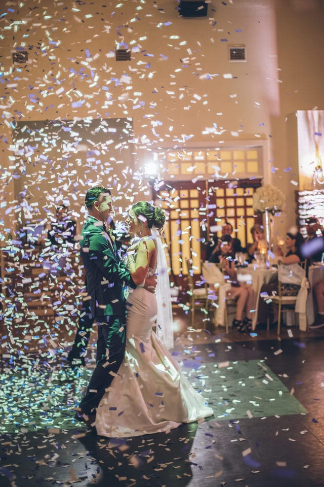 confetti at a reception, houston wedding photographer packages and pricing