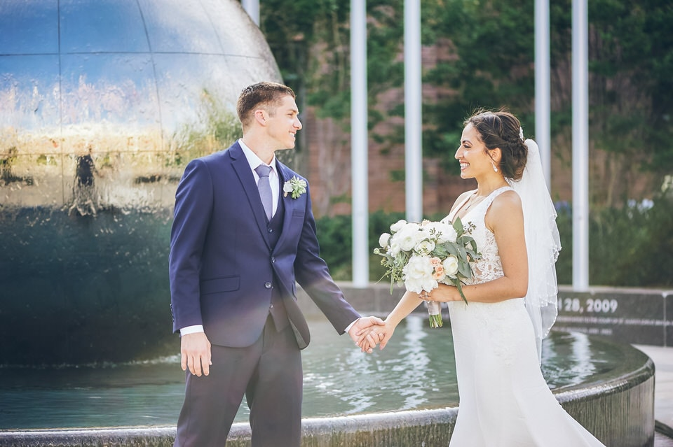 newlyweds in front of a fountain, los angeles wedding photographer portfolio