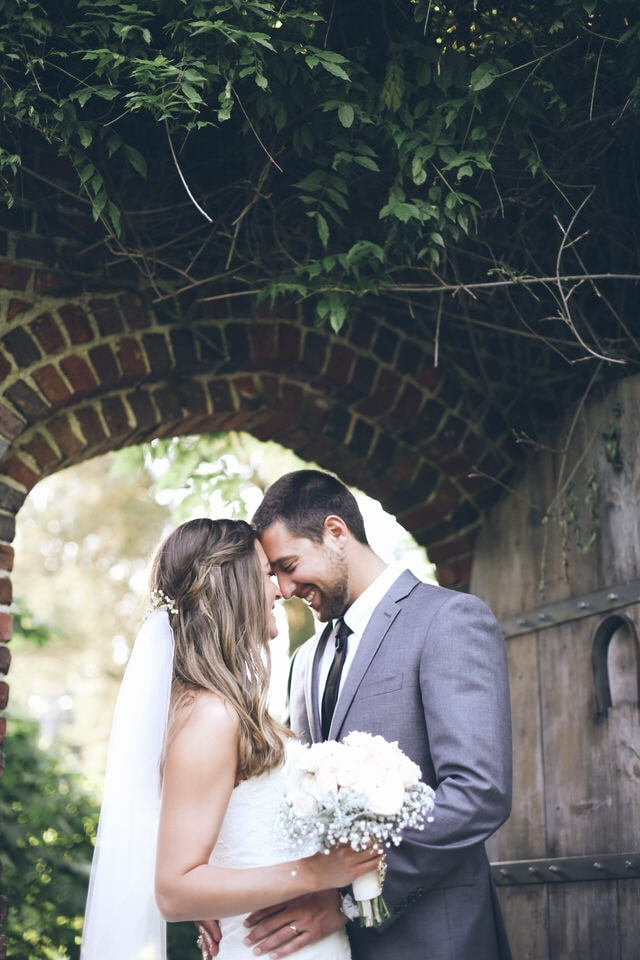 newlyweds sharing a forehead rest moment, richmond wedding photographer packages and pricing