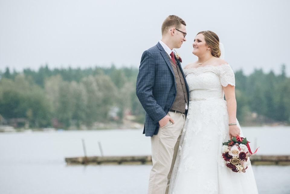 newlyweds sharing a moment, seattle wedding photographer availability
