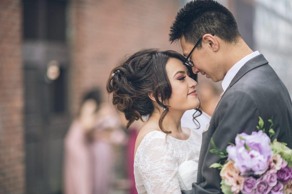 newlyweds sharing a moment, seattle wedding photographer portfolio