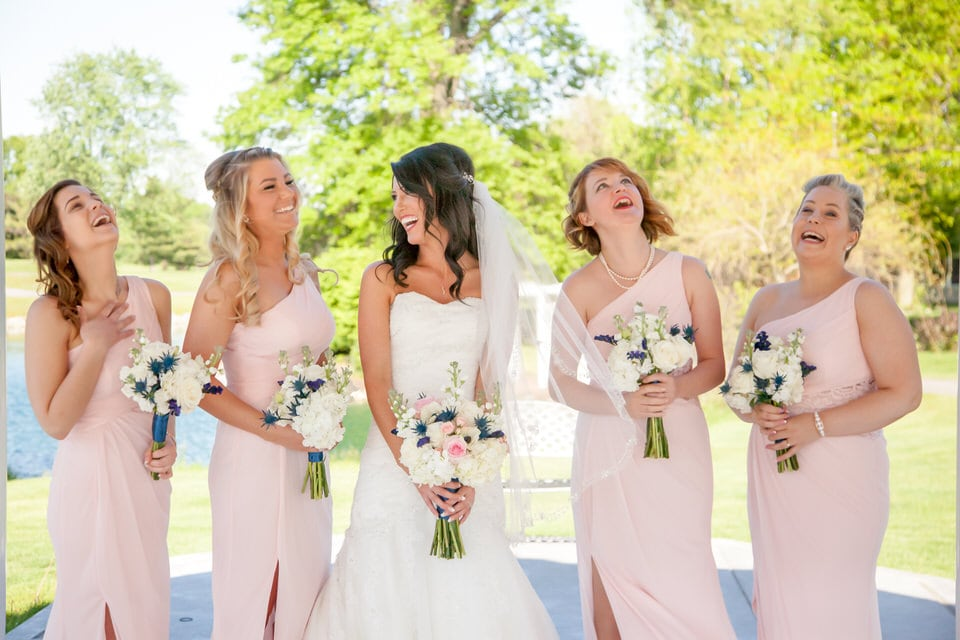 newlywed bride with her bridesmaids, indianapolis wedding photographer packages and pricing