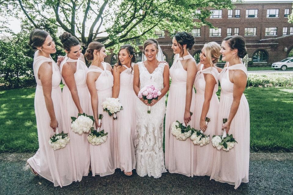 newlywed bride with her bridesmaids, pittsburgh wedding photographer portfolio