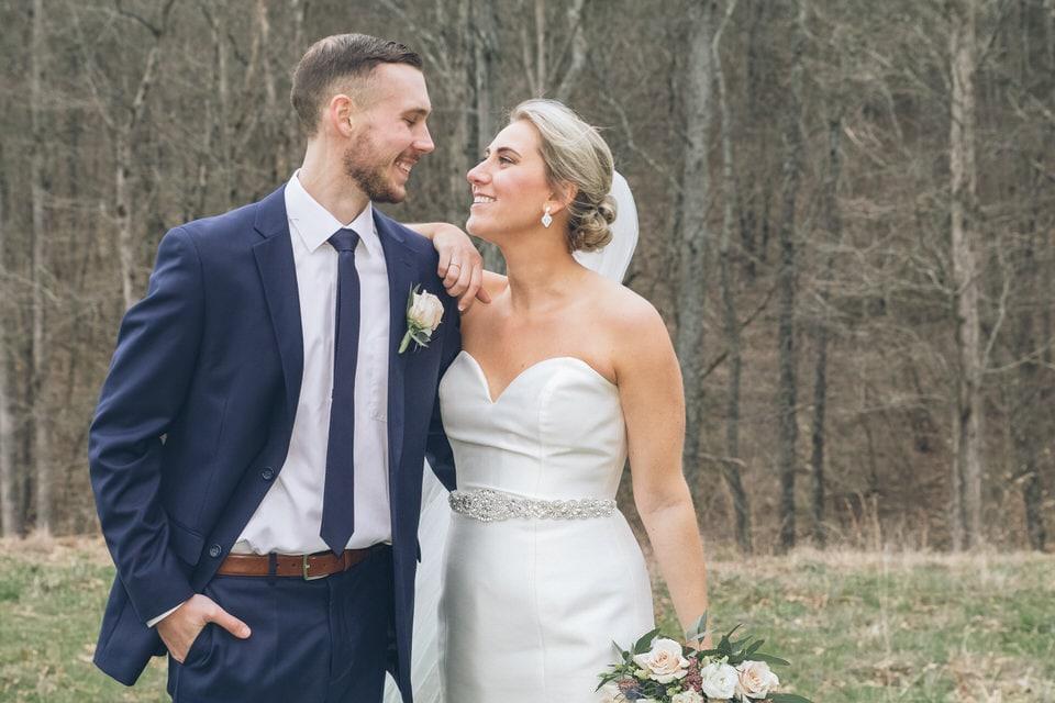 newlyweds sharing a moment, st louis wedding photographer portfolio