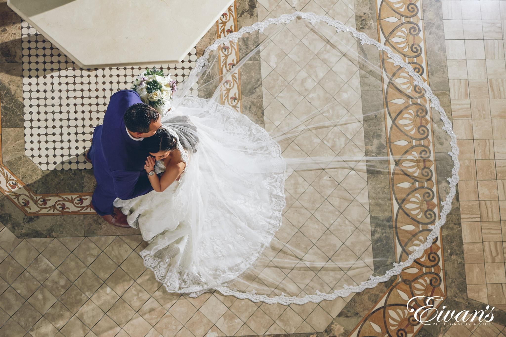 birdseye shot of bride and groom