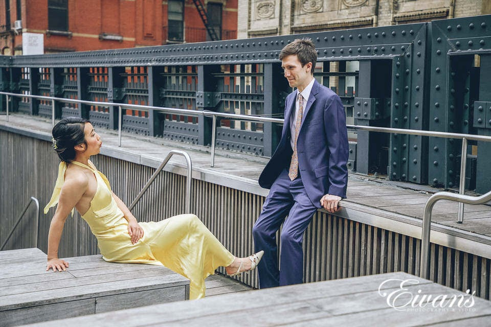 wedding couple wearing yellow and navy colors in new york city