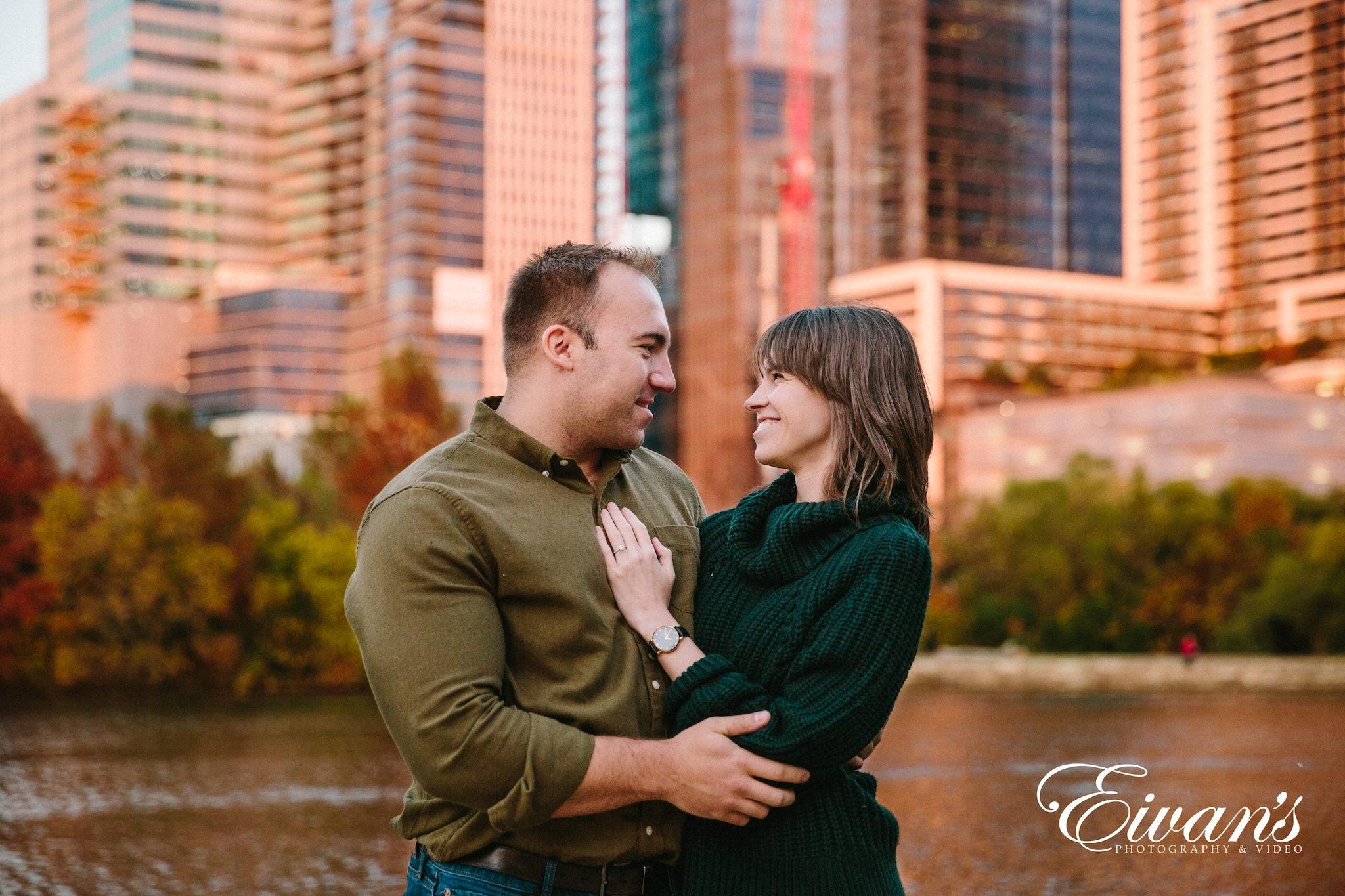 couple pose during engagement session