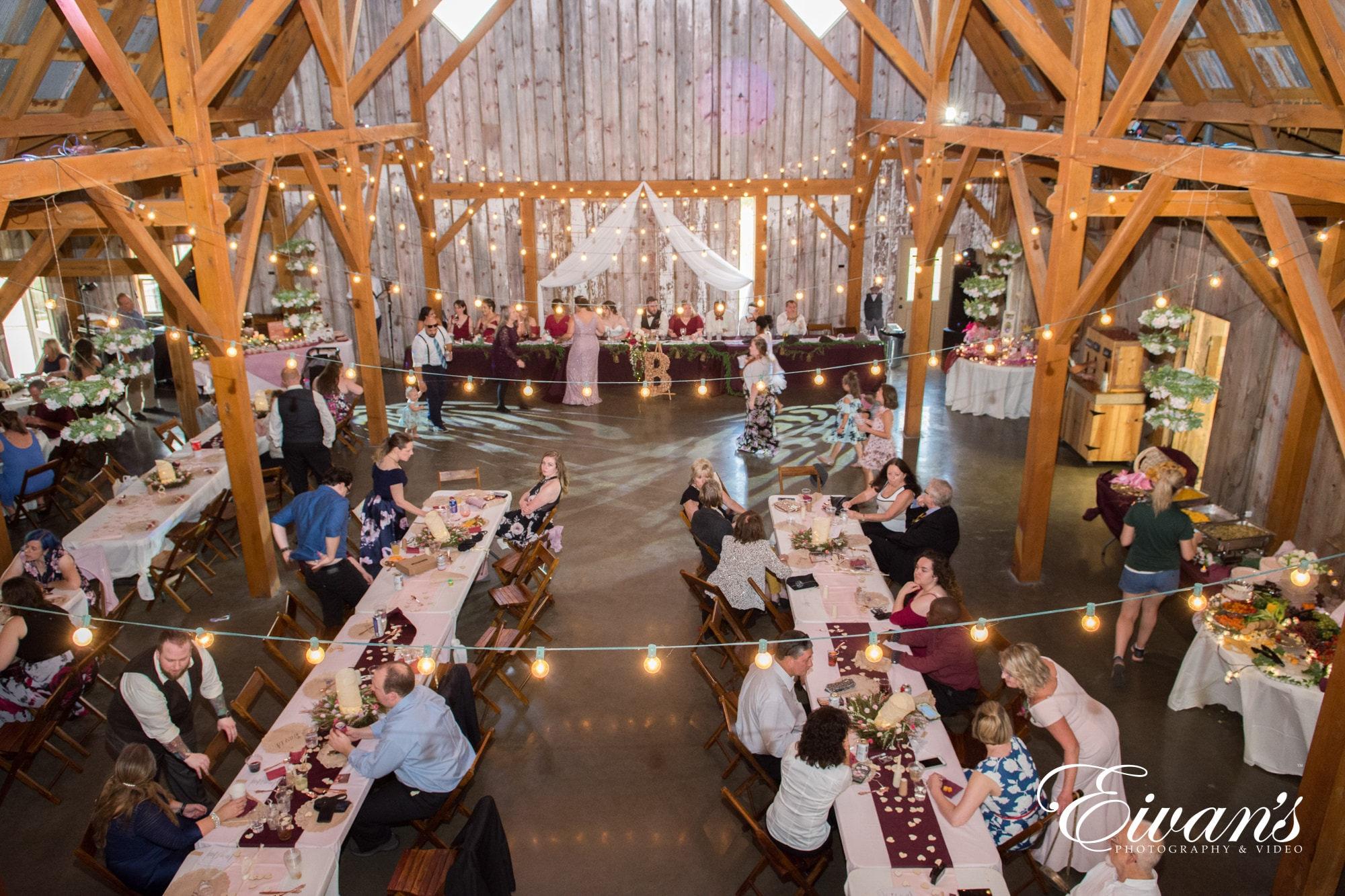 overhead shot of a barn reception