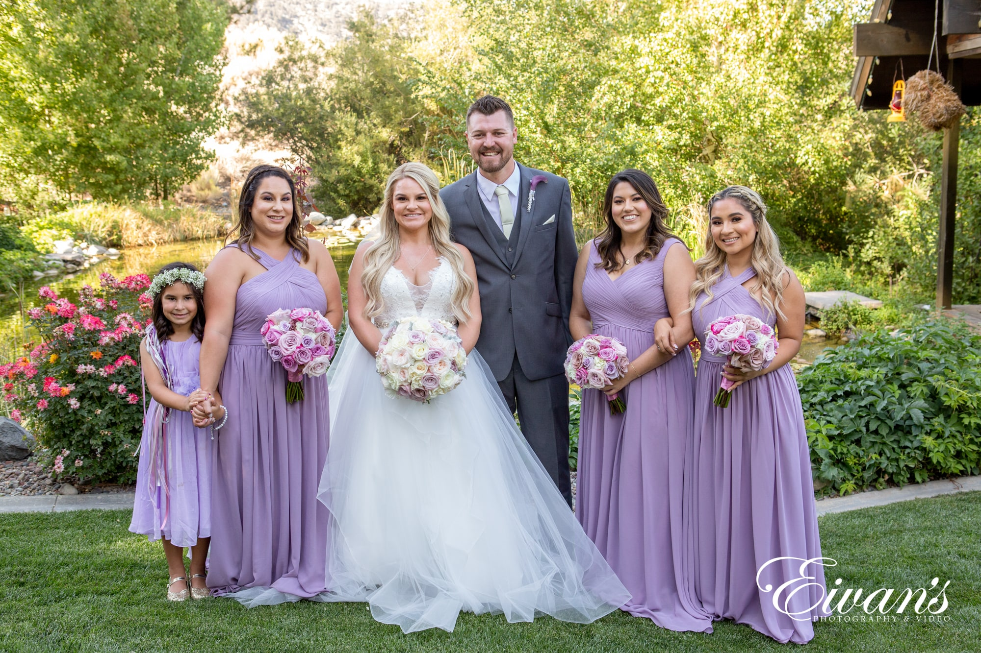 image of a bride, groom, and bridesmaids