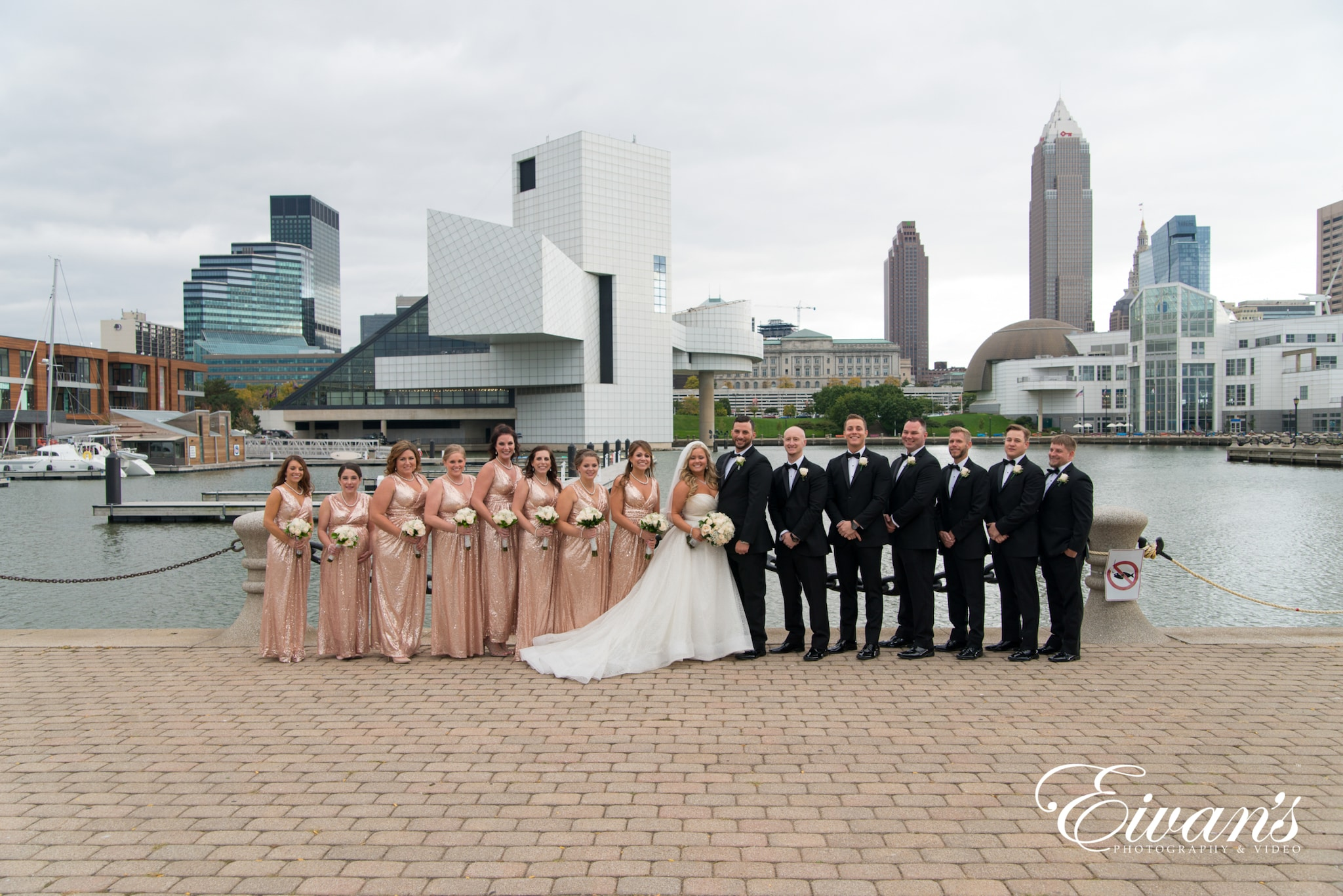 image of a wedding party lined up in the city