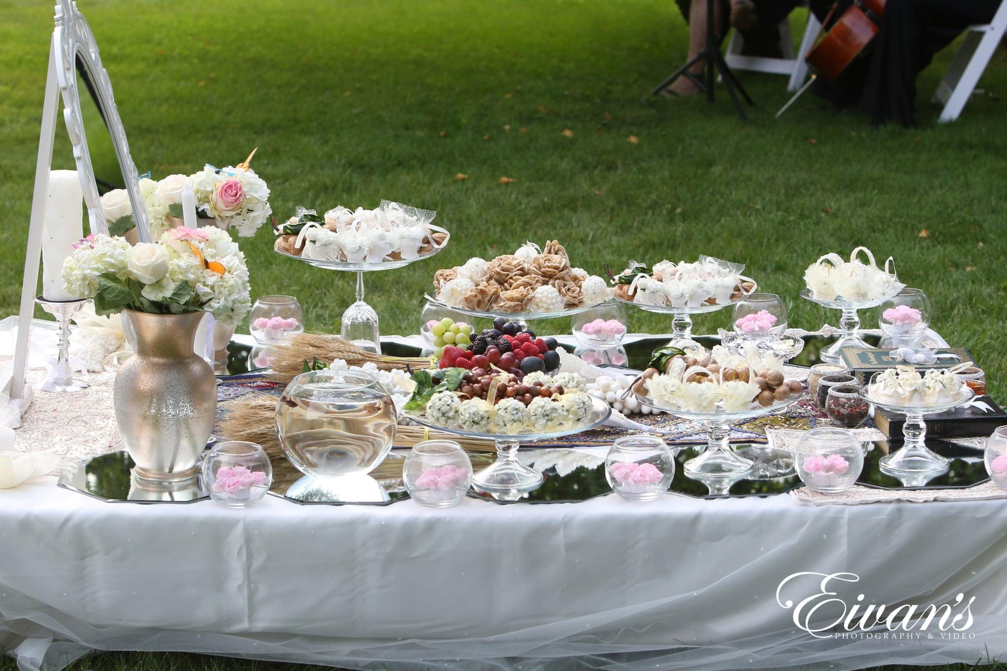 image of a wedding dessert table
