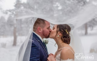 image of a bride and groom kissing