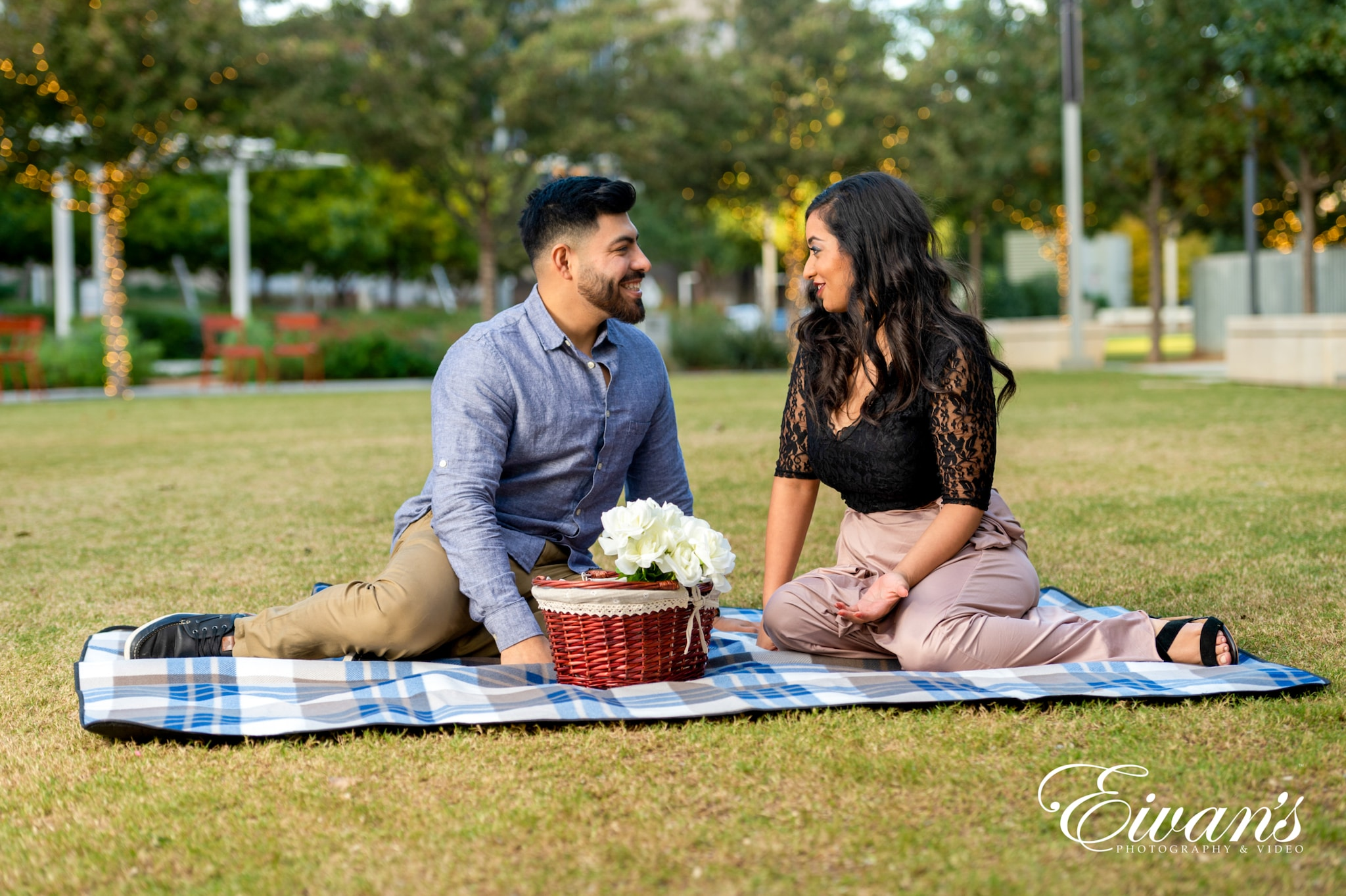 image of an engaged couple having a picnic