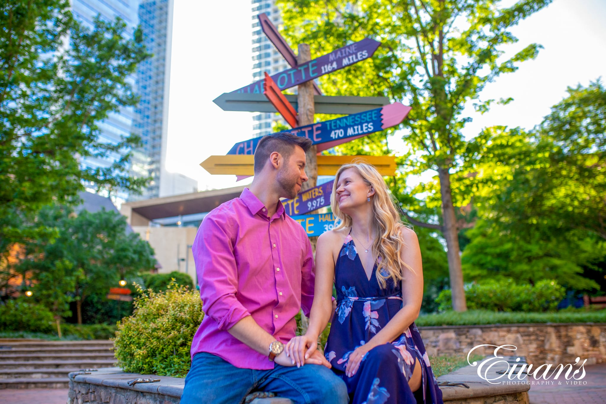 image of engaged couple in the park