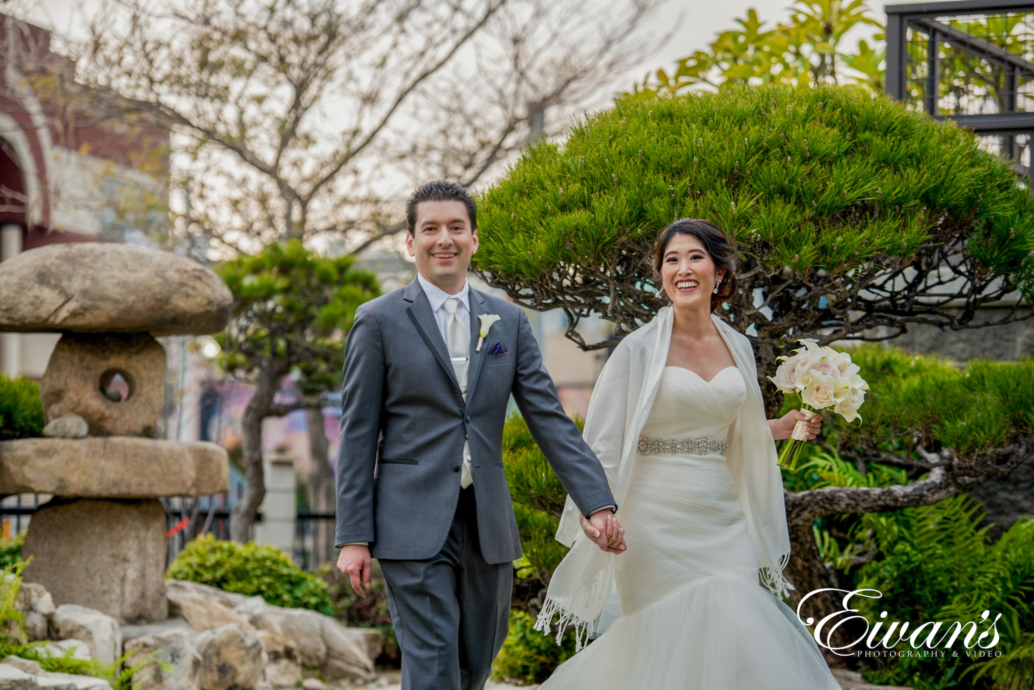 image of a married couple walking outside