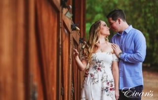 image of engaged couple at a ranch