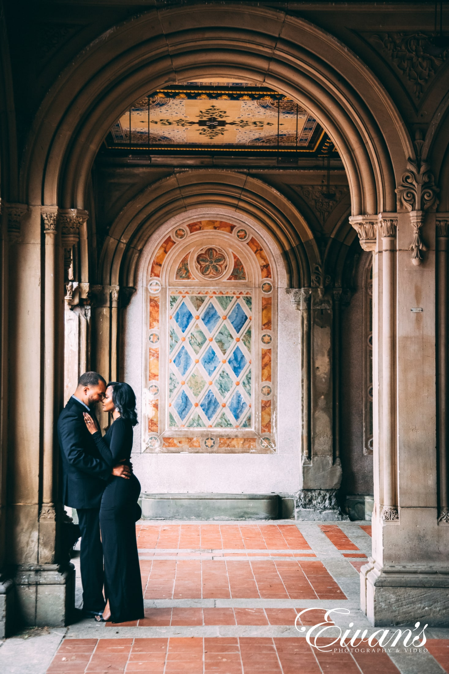 image of a couple in a castle like venue