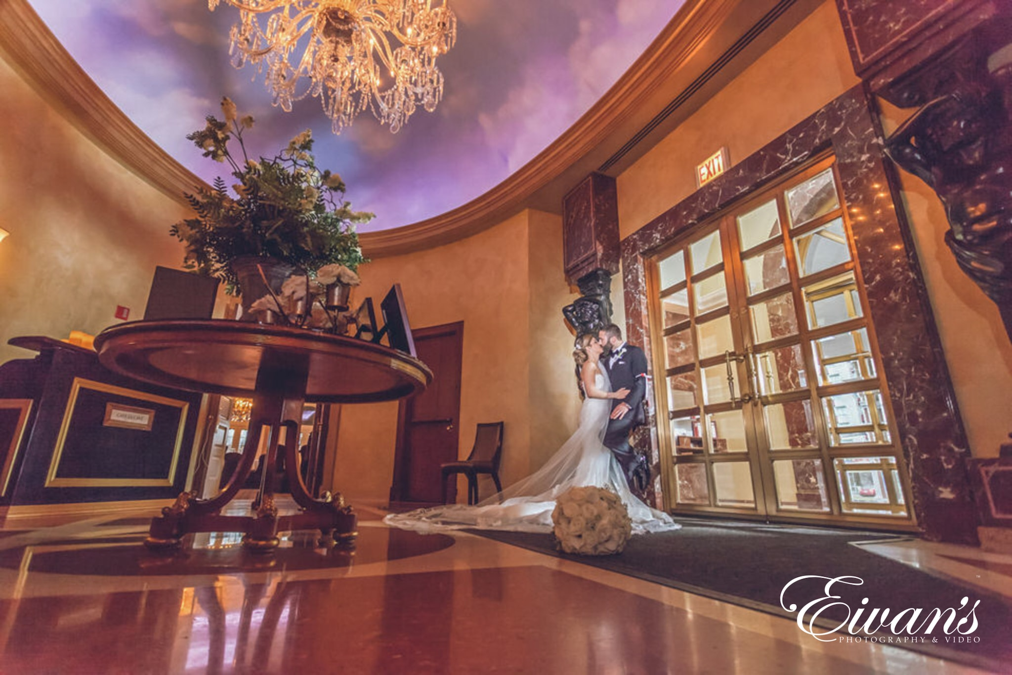 image of a married couple in a hotel lobby