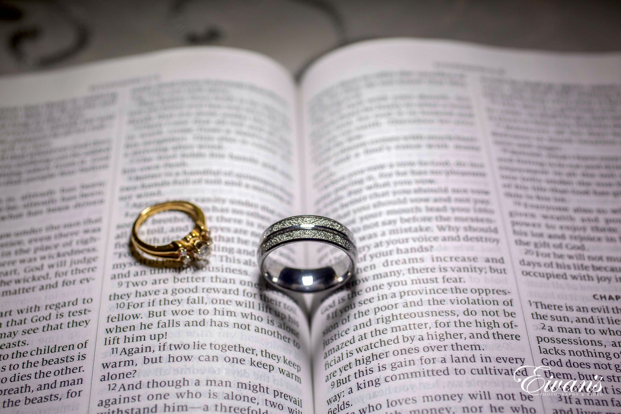 two wedding rings placed perfectly on bible