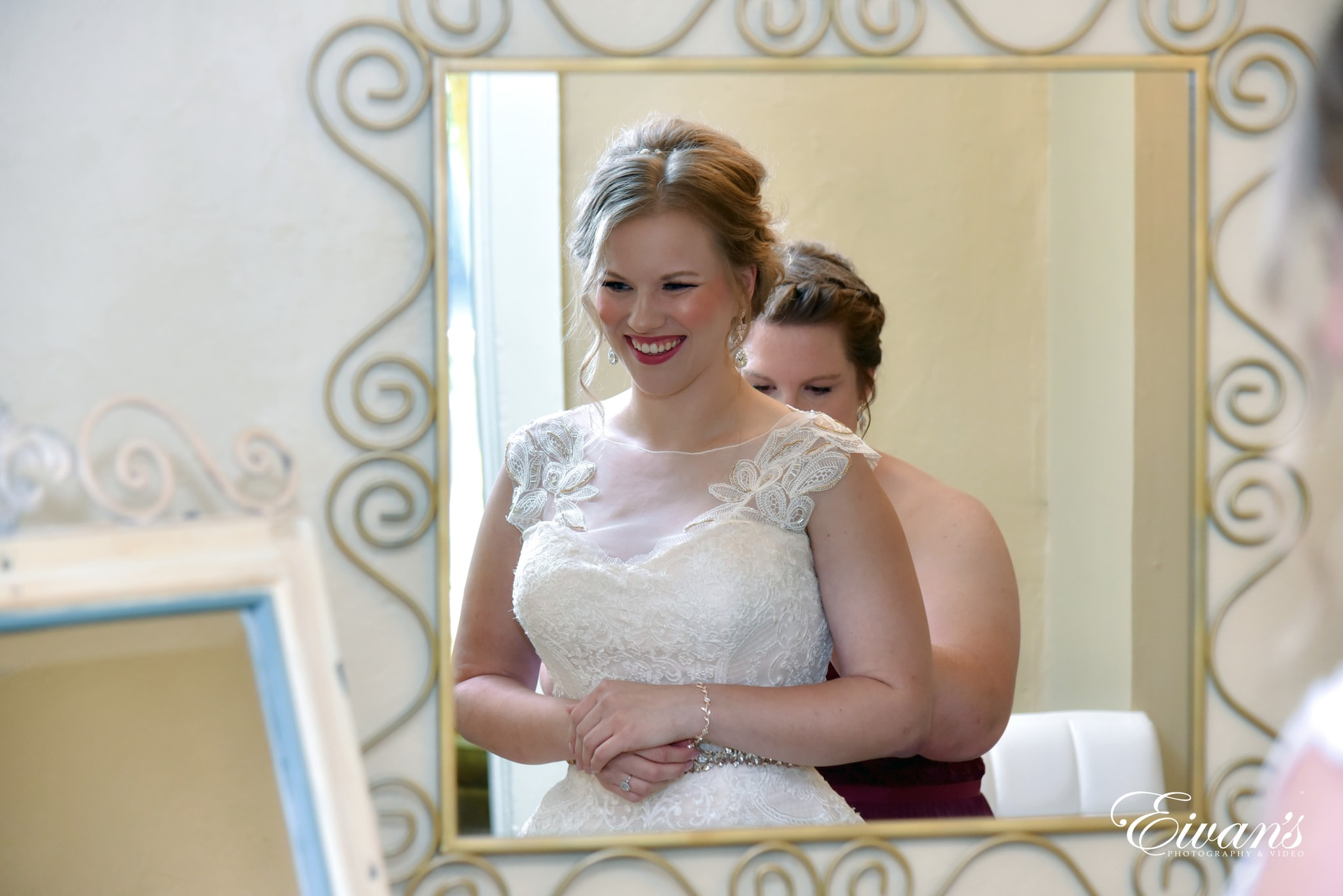smiling bride with red lipstick